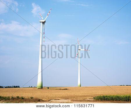 Wind farms on field