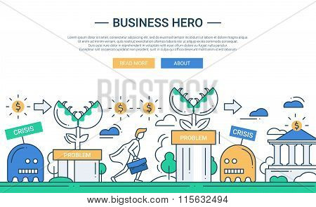 Business hero line flat design banner with business challenge.
