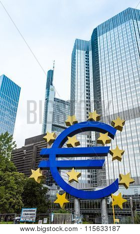 Frankfurt, Germany  August 16 : Euro Sign. European Central Bank (ECB) is the central bank for the euro and administers the monetary policy of the Eurozone. August 16 2015 in Frankfurt, Germany.