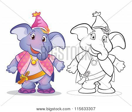 Vector Of Mascot Cute Elephane Cartoon Color And Line Art