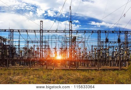 Electrical Distribution Station, Transformers, High-voltage Lines In Sunrise