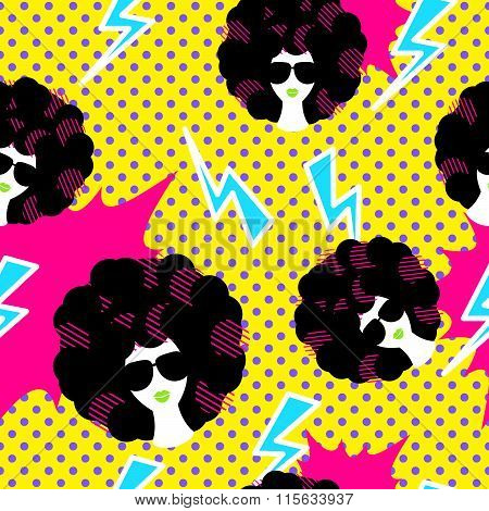 Retro 80S Disco Party Seamless Pattern.