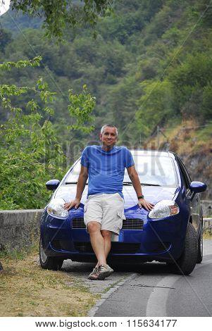 Car rental happy tourist.