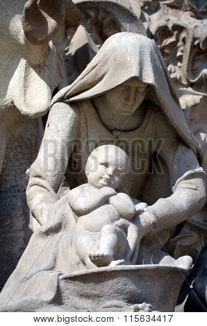 The Nativity  Architectural Details Of Sagrada Familia Barcelona Spain