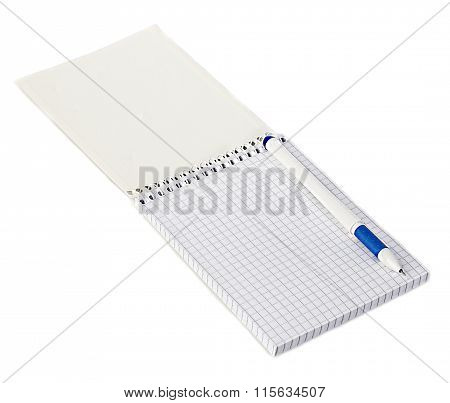 Paper Spiral Notebook With A Pen Close-up Isolated On A White Background. Blank Background.