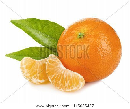 Ripe Mandarin With Leaves Close-up On A White Background. Tangerine Orange With Leaves On A White Ba
