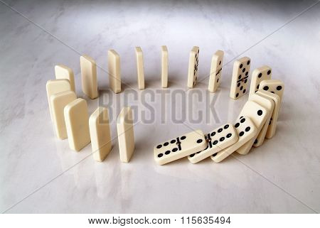 Row Of Dominoes In A Circle Shape