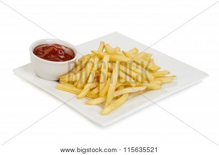 Classical American Potatoes Fries With Ketchup Close-up Isolated On A White Background.