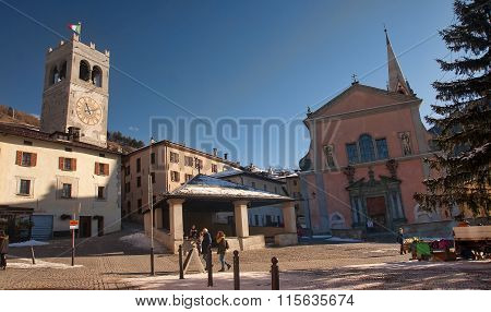 Bormio, Italy - January 6, 2016: Tourists Visiting Historic Borm
