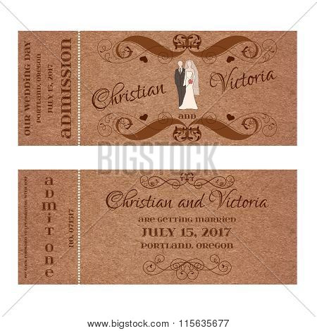 Ticket for Wedding Invitation with bride and groom pastel silhouettes