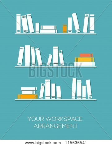 Shelves with books in flat design style.