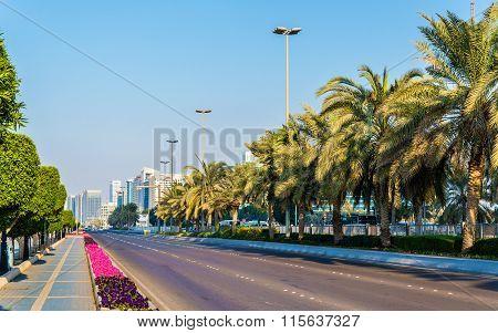 View Of Corniche Road In Abu Dhabi, Uae