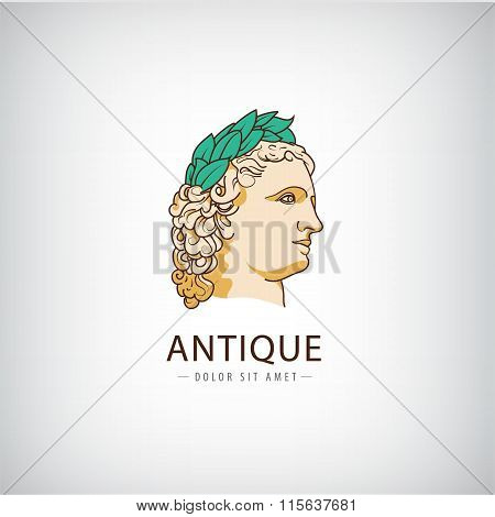 Vector antique greek head logo, icon isolated