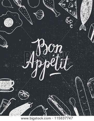 Vector Bon Appetit graphic poster with food illustrations, menu cover, banner.