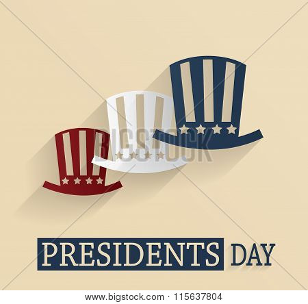 Presidents Day poster. Red, white and blue hats