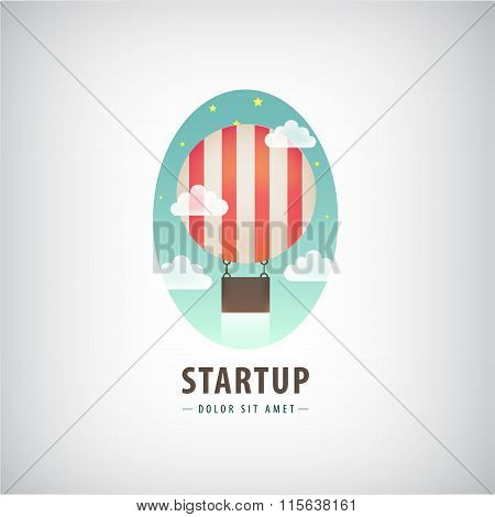 Vector business start up logo, Flying air ballon