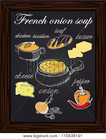 Recipe For Onion Soup With Peppers, Cheese, Butter, A Loaf, Onion, Chicken Bouillon