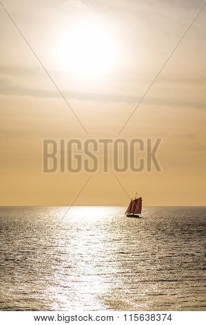 Red Sails On Golden Sunset