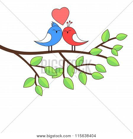 Love birds on a birch illustration