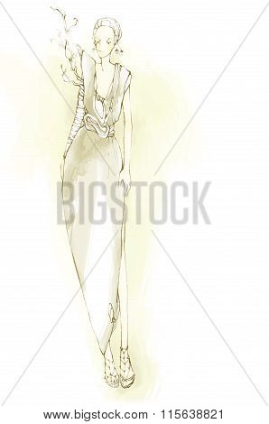 Vector elegant, stylized fashion models illustration