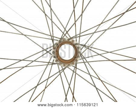 Part Of An Old Bicycle Wheel, Isolated On White Background.