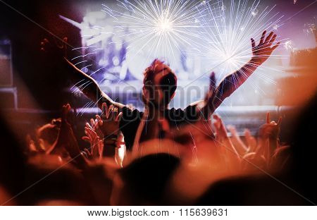 Fireworks At A Live Concert. Cheering Crowd
