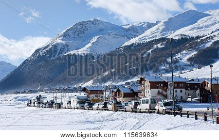 Winter View Of Livigno - Ski Resort In Italy