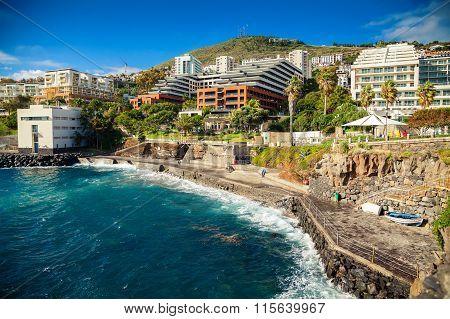 Concrete Beach Near Bath Complex Lido In Funchal