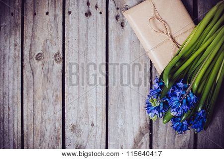hyacinth on a vintage wooden board