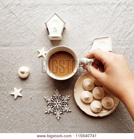 Christmas Cup Of Cocoa And A Snowflake