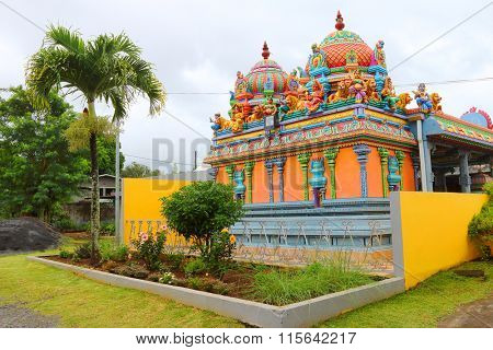 SAINT PAUL, REUNION ISLAND, FRANCE - NOVEMBER 4, 2015: Hinduist temple with typical decoration. Hindu is 6.7% religion on island.