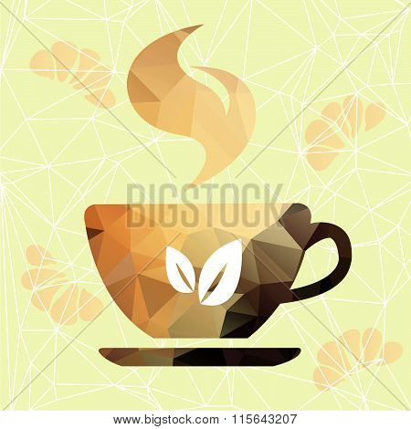 Vector triangle cup. Abstract cup of geometric shapes.