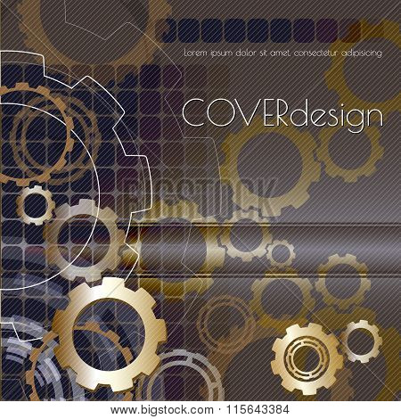 Vector square brochure cover design with black and white  cogwheels.