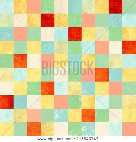 Seamless background with paper patterns of different colors - yellow, pink, blue, green, red and beige. Endless texture can be used for wallpaper, pattern fills, web page background, surface textures