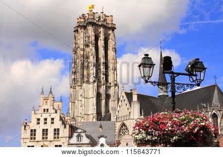 Cathedral of saint Rumbold on Main square in Mechelen, Belgium