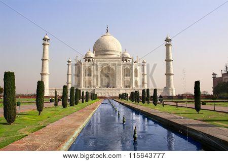 Famous Taj Mahal mausoleum in Agra, India