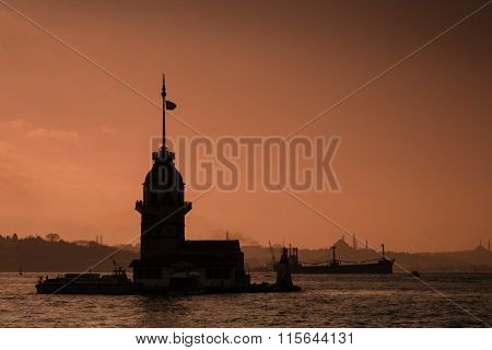 Sunset Silhouette Of Maiden's Tower In Istanbul, Turkey