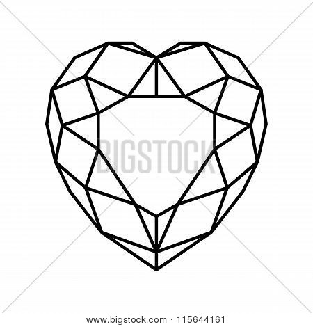vector line heart stone
