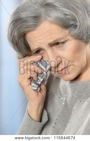 crying Senior woman