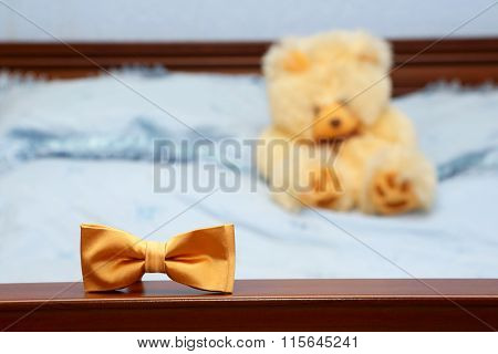 The Male Butterfly Is On The Back Of The Bed On The Background Of The Teddy Bear