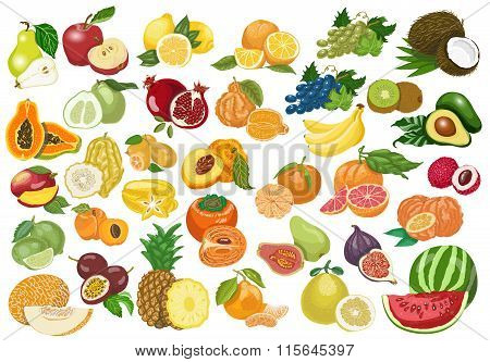 Big collection of isolated fruits on white background