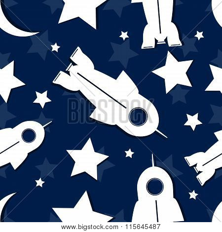 Abstract Star, Rocket, Moon In Seamless Repeating Pattern.vector