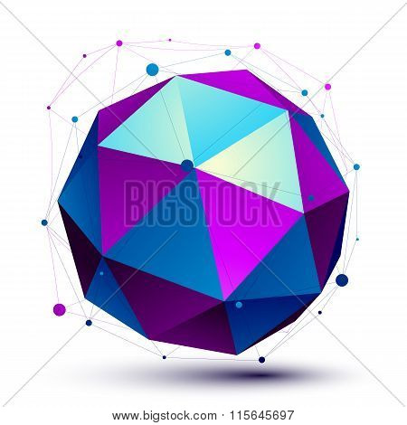 Colorful 3D Mesh Modern Spherical Abstract Object, Origami Futuristic Symbol With Lines Mesh Isolate