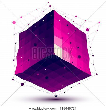 Contemporary Techno Purple Squared Stylish Construction, Abstract Undulate Dimensional Figure With L