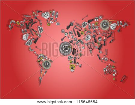 World map made up of spare parts