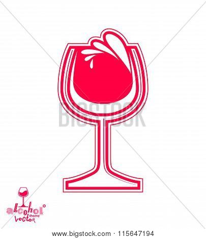 Vector Goblet – Alcohol Drink Theme Illustration. Elegant Wineglass With Splatter Isolated On White,
