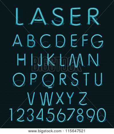 Vector Blue light glass reflect laser neon alphabet