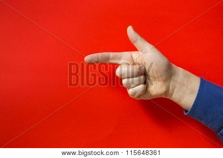 Human hand sign. Red background