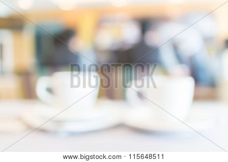 Abstract Blurred Photo Of Tea Cup Set With Conference Breaking Time Background.