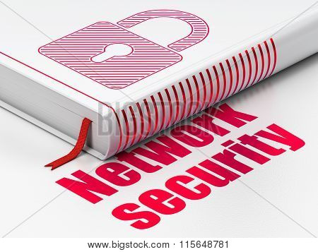Security concept: book Closed Padlock, Network Security on white background